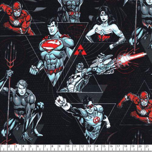 Tissu jersey Justice League fond noir