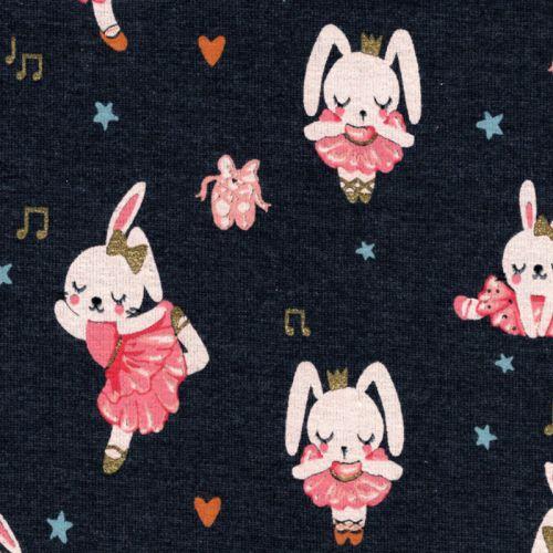 Tissu jersey Ballet Stars lapins glitter fond bleu Poppy