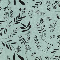Tissu jersey fleurs fond vert mousse