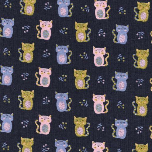 Tissu jersey Sweet cats glitter fond bleu marine Poppy