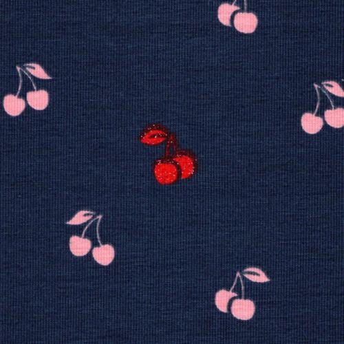 Tissu jersey cerises glitter fond bleu Poppy