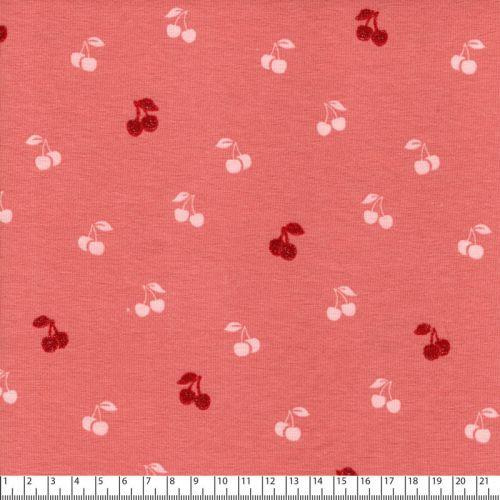 Tissu jersey cerises glitter fond rose Poppy