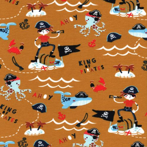 Tissu jersey pirates fond moutarde Poppy