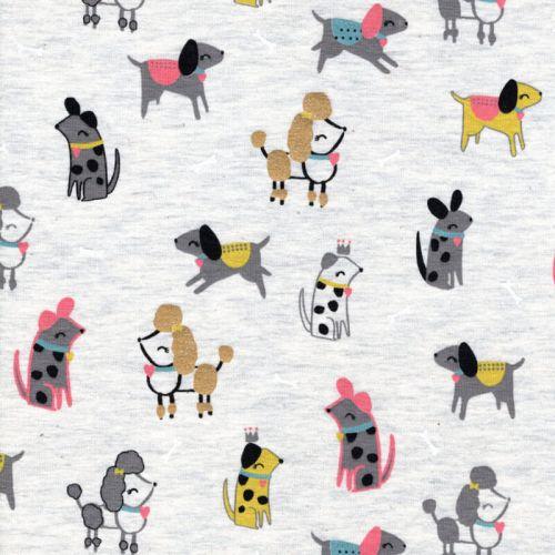 Tissu jersey Pretty dogs glitter fd beige Poppy