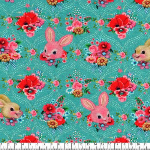 Tissu jersey Happy Bunny vert Fiona Hewitt