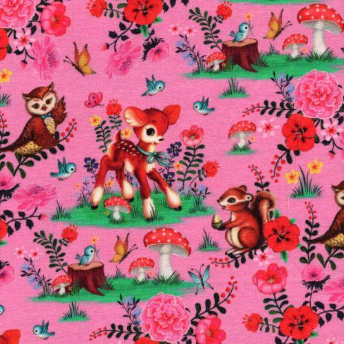 Tissu jersey Bambi and friends rose Fiona Hewitt