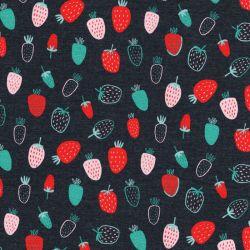 Tissu jersey Strawberry fond gris foncé Poppy
