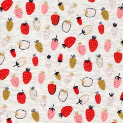 Tissu jersey Strawberry fond beige chiné Poppy