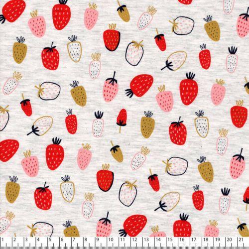 Tissu jersey Strawberry fond beige chiné Poppy