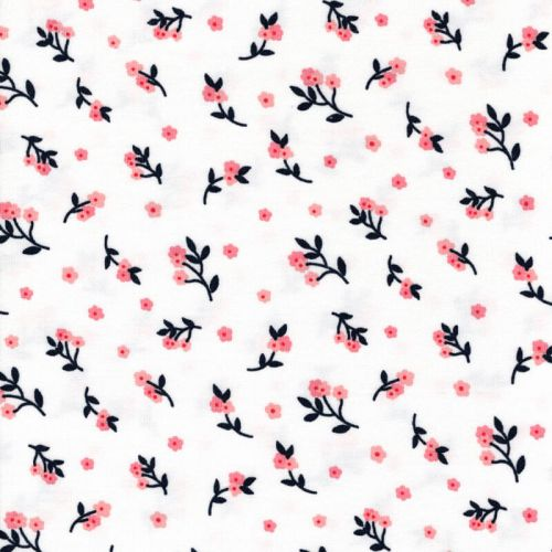 Tissu jersey fleurs fond blanc