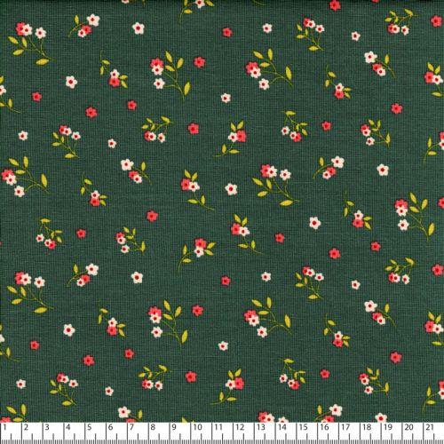 Tissu jersey fleurs fond vert