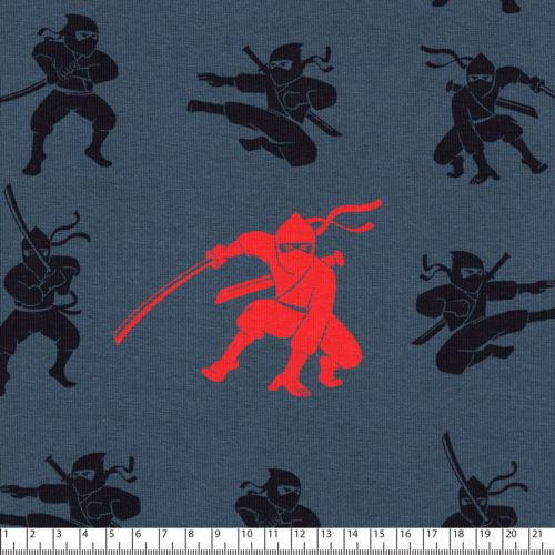 Tissu jersey Ninja fond bleu