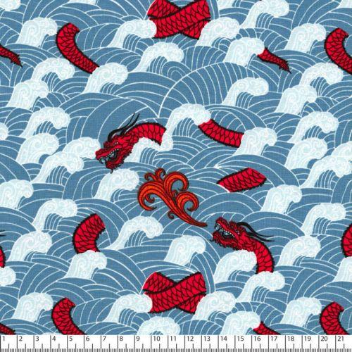 Tissu jersey dragons fond bleu jean