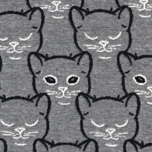 Tissu jersey chiné gris avec chats jacquards noir