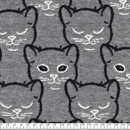 Tissu jersey chats jacquards noir 94%cot/6%el larg 150 cm