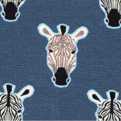 Tissu jersey portrait zébre glitter fond bleu