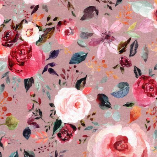 Tissu jersey Painted Flowers digital fond vieux rose Poppy
