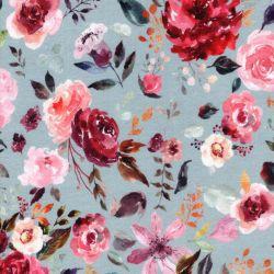 Tissu jersey Painted Flowers digital fond bleu glacier Poppy