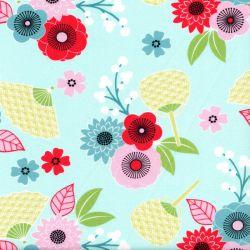 Tissu blossom bouquet fond bleu