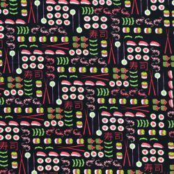 Tissu sushis fond noir