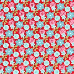 Tissu washi floral fond rouge