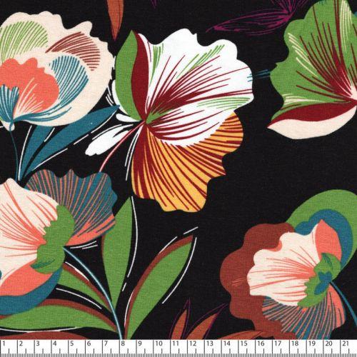Tissu jersey grandes fleurs fond noir