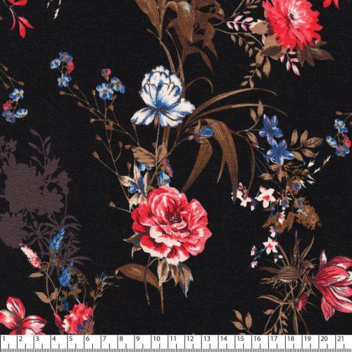 Tissu jersey feuillage vintage fond noir