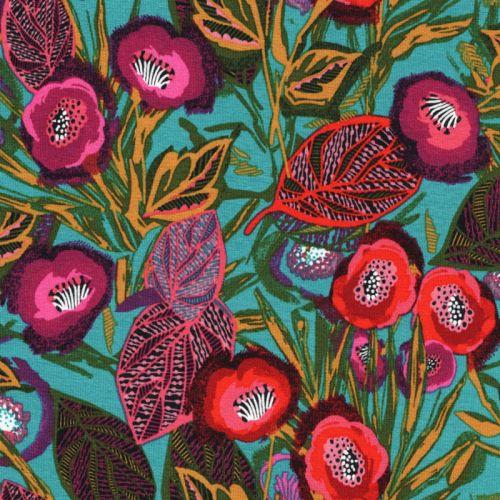 Tissu jersey jardin de renoncules fond turquoise