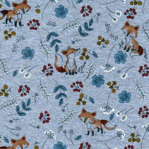 Tissu sweat renard curieux fond bleu