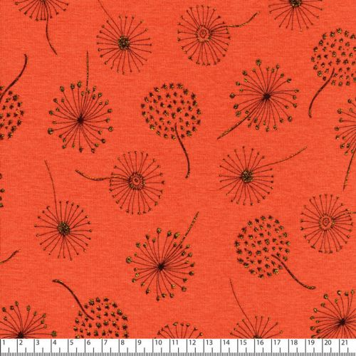 Tissu sweat dandelion or fd orange 56%pl/40%cot/4%el larg 15