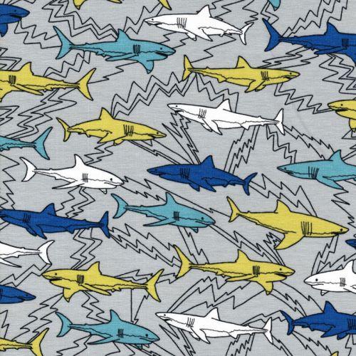 Tissu jersey Electric sharks fond gris Poppy
