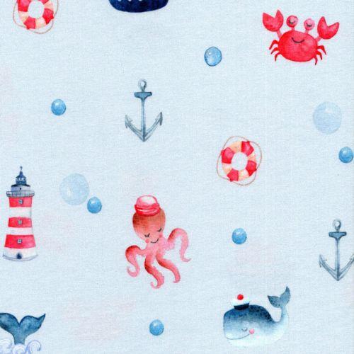 Tissu jersey Sea you later fond bleu Poppy