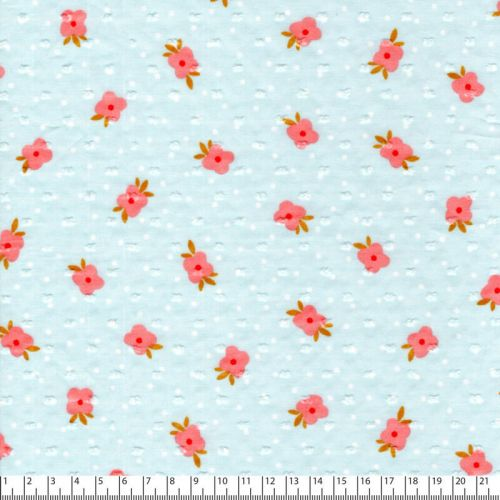 Tissu plumetis fleurs roses fond bleu