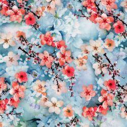 Tissu fleurs de cerisiers fond bleu