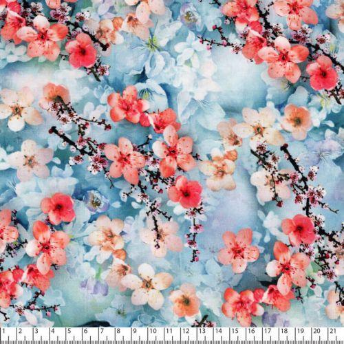 Tissu viscose fleurs de cerisiers fond bleu