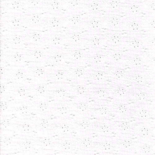 Tissu gaze broderie anglaise blanc