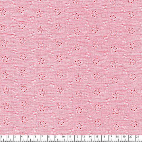 Tissu gaze broderie anglaise rose