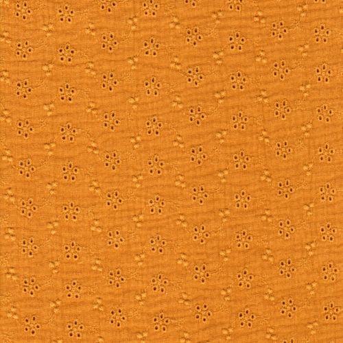 Tissu gaze broderie anglaise moutarde
