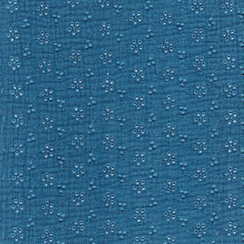 Tissu gaze broderie anglaise bleu