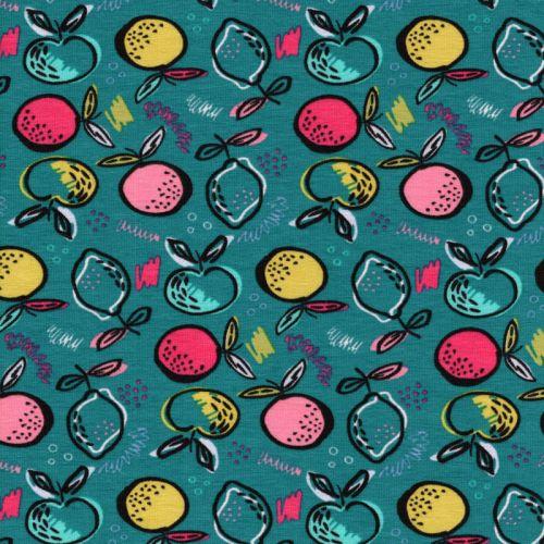 Tissu jersey fruits fond turquoise