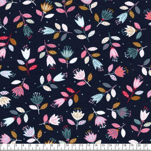 Tissu French Terry Flowers fond marine Poppy
