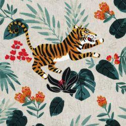 Tissu tigres fond beige