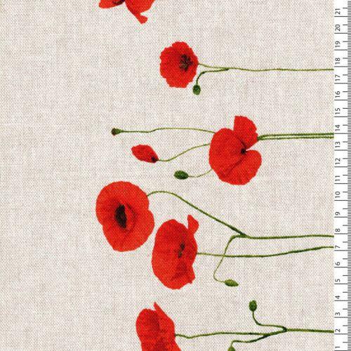 Tissu coquelicots avec bordure