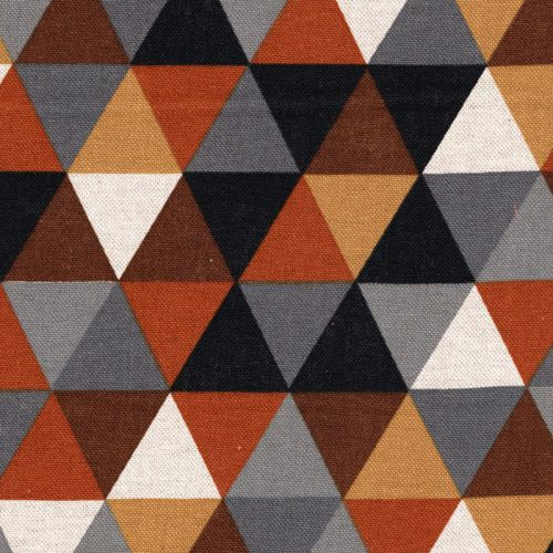 Tissu triangles tons rouille