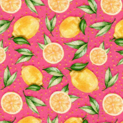 Tissu jersey citrons fond rose
