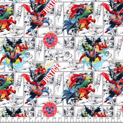 Tissu Justice league fond blanc
