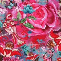 Tissu jersey femme fond rose impression digitale
