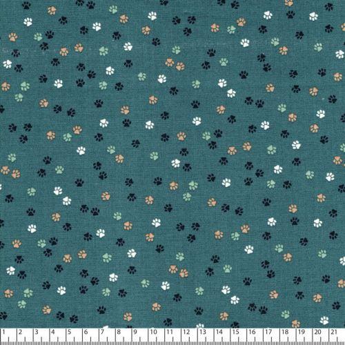 Tissu pattes de chats fond vert