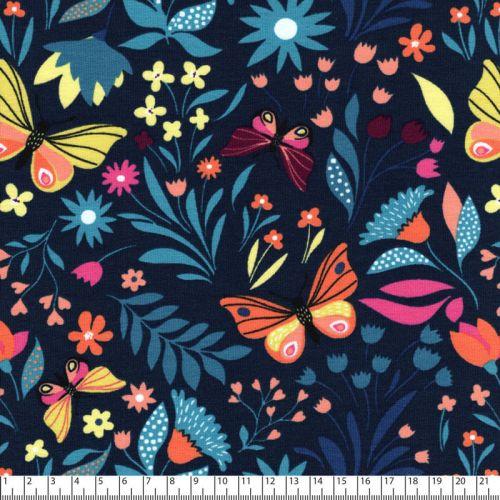 Tissu French Terry papillon printannier marine