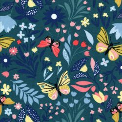 Tissu French Terry papillon printanier